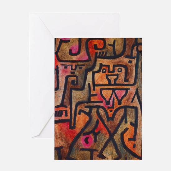 Vintage Abstract Klee Red Earthy Greeting Cards