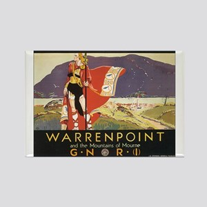 Vintage Warrenpoint Travel Po Rectangle Magnet