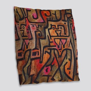 Paul Klee Abstract Red Contemporary Burlap Throw P