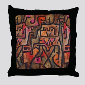 Paul Klee Abstract Red Contemporary Throw Pillow