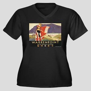 Vintage Warrenpoint Travel Po Women's Plus Size V-