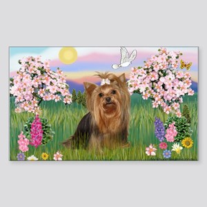 Blossoms & Yorkie 7 Rectangle Sticker