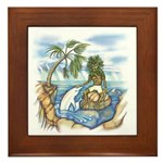 Green Man and Dolphin Poster Framed Tile