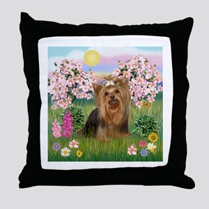 Blossoms & Yorkie 7 Throw Pillow