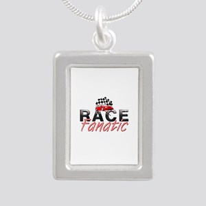 Auto Race Fanatic Silver Portrait Necklace