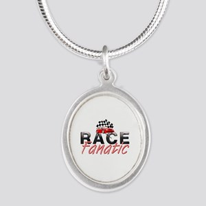 Auto Race Fanatic Silver Oval Necklace
