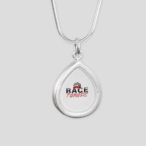 Auto Race Fanatic Silver Teardrop Necklace