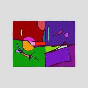 Woodblock Print Simulation 5'x7'Area Rug