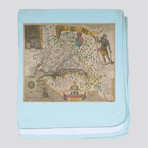 Vintage Map of Virginia (1618) baby blanket