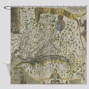 Vintage Map of Virginia (1618) Shower Curtain