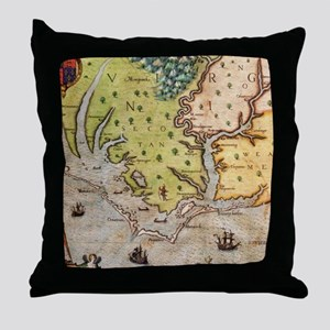 Vintage Map of The North Carolina Coa Throw Pillow