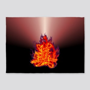 Kanji beauty flaming red 5'x7'Area Rug