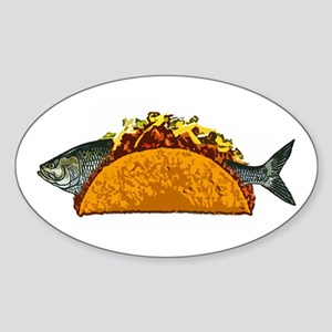 Fish Taco Oval Sticker