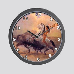 Buffalo Hunt Wall Clock