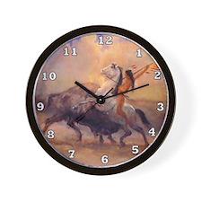 Buffalo Hunt Wall Clock
