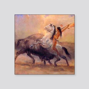 "Buffalo Hunt Square Sticker 3"" x 3"""