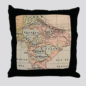 Vintage Map of India (1823) Throw Pillow