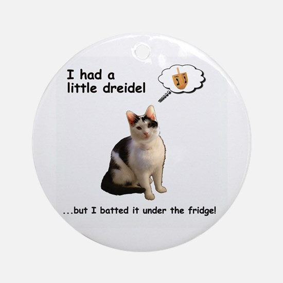 Hanukkah Dreidel Cat Round Ornament