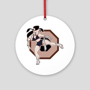 Muay Thai Female Fighter Round Ornament