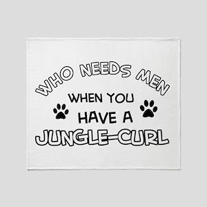 Jungle Curl Cat Designs Throw Blanket