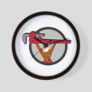 Bald Eagle Plumber Monkey Wrench Circle Cartoon Wa