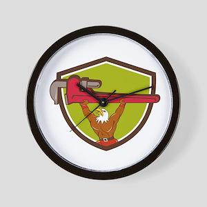 Bald Eagle Plumber Monkey Wrench Shield Cartoon Wa