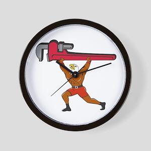 Bald Eagle Plumber Monkey Wrench Isolated Cartoon