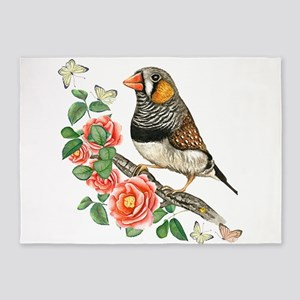 Zebra Finch Perched on Flower Branc 5'x7'Area Rug