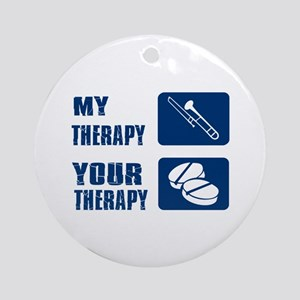 Trombone My Therapy Round Ornament