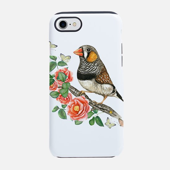 Zebra Finch Perched on Flowe iPhone 8/7 Tough Case