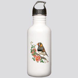 Zebra Finch Perched on Stainless Water Bottle 1.0L