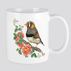 Zebra Finch Perched on Flower Branch with But Mugs