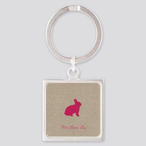 Cute Pink Bunny Square Keychain