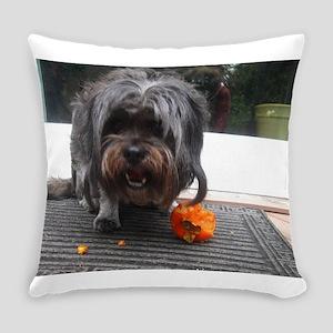 Kona Lhasa type dog eating a persi Everyday Pillow