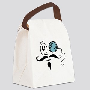 Fancy Smiley Face Monocle and Mus Canvas Lunch Bag