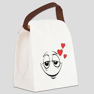 Lovestruck Smiley Face Canvas Lunch Bag