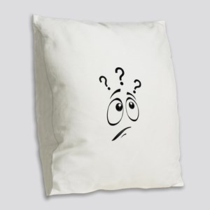 Confused Smiley Face Burlap Throw Pillow