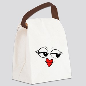 Kissing Smiley Face Canvas Lunch Bag