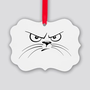 Funny Black and White Angry Cat F Picture Ornament