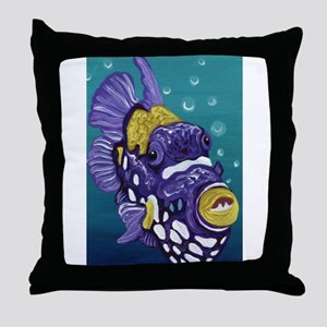 Clown Trigger Fish Throw Pillow