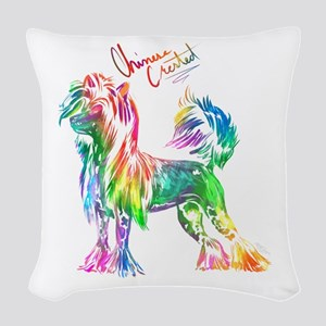 Colorful Chinese Crested Woven Throw Pillow