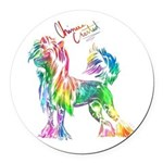 Colorful Chinese Crested Round Car Magnet