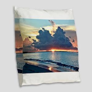 Caribbean Sunset Burlap Throw Pillow