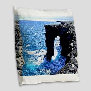 Kona Hawaii Sea Arch Burlap Throw Pillow