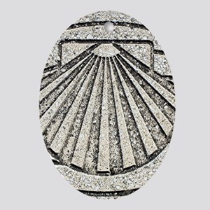 El Camino shell, pavement, Spain Oval Ornament