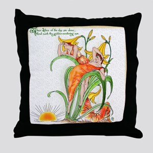 1889 Day Lilies Throw Pillow