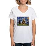 Starry Night / Border Terrier Women's V-Neck T-Shi