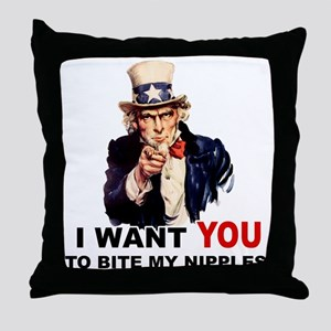 Want You To Bite My Nipples Throw Pillow