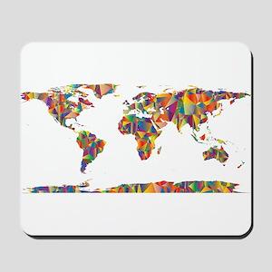 Chromatic Rainbow World Map Mousepad