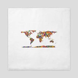 Chromatic Rainbow World Map Queen Duvet